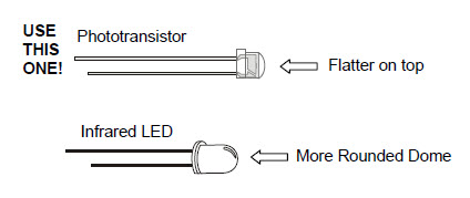 Drawing showing the difference between the phototransistor (which has a flatter plastic case) and the infrared LED (which has a more rounded case)