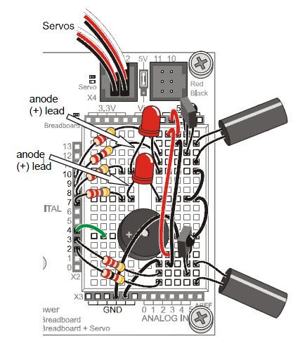 Parts placement for red LED circuits on the BOE Shield with IR emitter receiver pairs