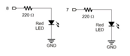 LED circuits with 220 ohm resistors in series, for digital pins 8 and 7