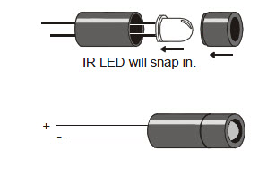 IR LED and standoff assembly diagram