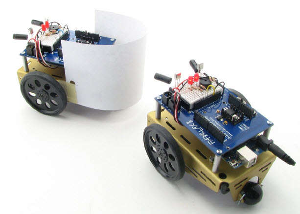 "Two BOE Shield-Bots play ""follow the leader"" using IR distance detection"