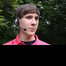 A view of a user wearing the BARFS prototype headset.