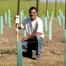 Dr. Singh with his Wireless Vineyard Monitor.