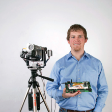 Kyle with his Remote Video System. Photos courtesy Megan Van Kooten of Four Seasons Photography.