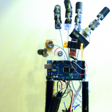 Close up view of the Arduino controlled prosthetic hand.