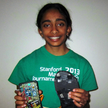 Maya with her Arduino-based Foot Neuropathy Analyzer