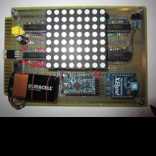 Close up view of analyzer with LED display.