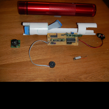 Internal workings of the soniCane.