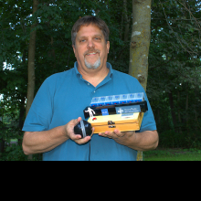 Tim with his creation the P.I.L. Box (Propeller Based Internet Logging) project.