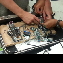 Internal workings and wiring.