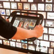 An iPad at a docking station using the Collection Wall at the Cleveland Museum of Art